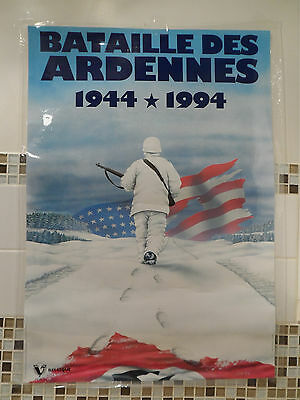 """WWII 1944 1994 'The Battle Of The Ardennes' 'Battle of the Bulge' Poster 33""""x23"""""""