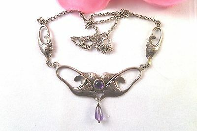 Art Nouveau Sterling Silver & Amethyst Antique Necklace-Spring ring clasp-45cm
