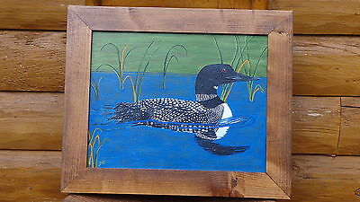 "Beautiful Loon Swimming in the Pond (11' x 14"") Painting by the Artist"