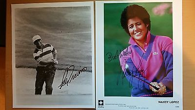 LEE TREVINO AND NANCY LOPEZ; (2) Two Hand Signed Autographs,