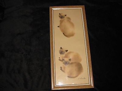 Vintage SIAMESE CAT Picture Drawing Print Framed C COUNTER Signed Lambert Prod