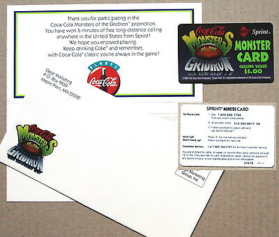 """Coca-Cola """"Monsters of the Gridiron"""" phonecard from Sprint  MINT WITH ENVELOPE"""