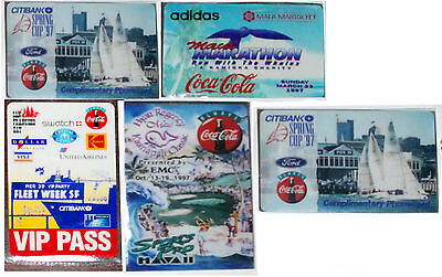 SET OF 5 COCA-COLA PHONE CARDS HT & GRAPEVINE CARDS Sommerset Vip Pas CitybanK