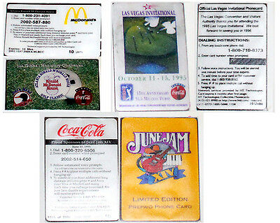 SET OF 3 COCA-COLA PHONE CARDS by HT TECHNOLOGIES  MINT BALLOON CLASSIC JUNE JAM