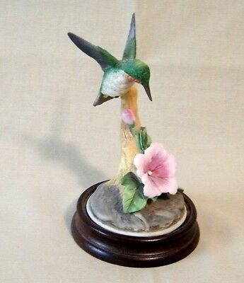 Ceramic Hummingbird on Branch with Flower on Wood Base