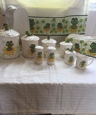 1976 Sears & Roebuck Neil The Frog 4pc Set Canisters, Salt/Per Sugar/Cream Plus