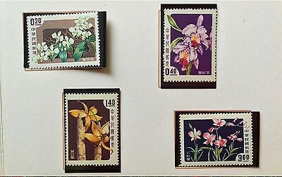 1958 China Taiwan Stamps in Folder SC#1189-92 Flowers 花卉  MVLH