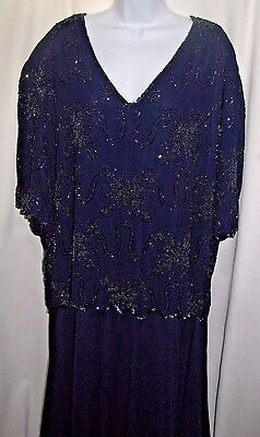 French Collizioni Formal/mother Of Bride Beaded Blue Dress Plus Size 5X