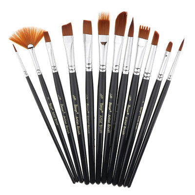 12pcs Nylon Hair Artist Paint Brushes Watercolor Acrylic Oil Painting Supply