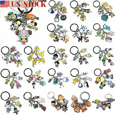 Anime Cartoon Character Metal Keychain Keyring Pendant Charm Cosplay Key Ring US