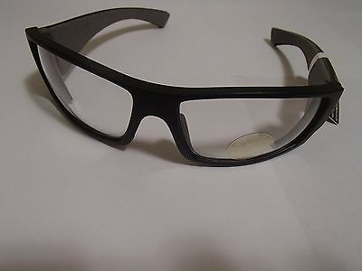 Bombers Safety Glasses Matte Black Frame, Clear Safety Lens with Grey Foam.