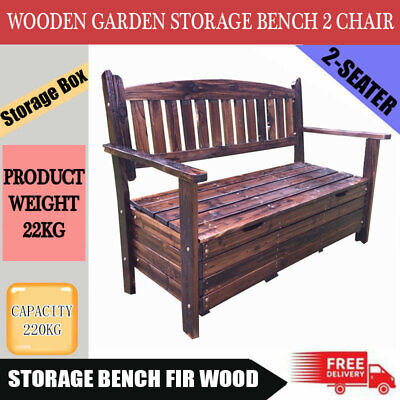 NEW Wooden Garden Storage Box Timber Bench Chair Outdoor Furniture 2 Seat Chest