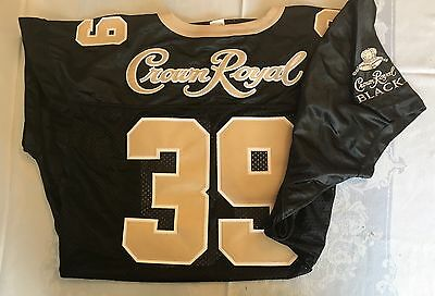 EMBROIDERED CROWN ROYAL WHISKEY Black FOOTBALL JERSEY L / XL #39 Stitched Sewn