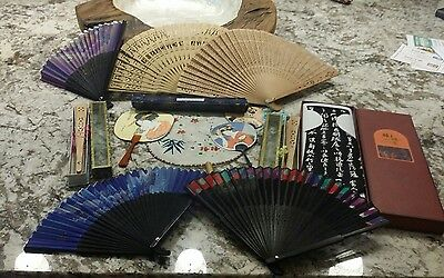 Lot of 11 Vintage Folding Hand Fans Painted Cut Wood Paper + Tie