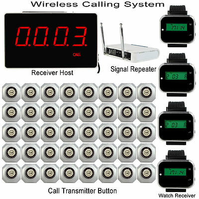 Wireless Calling System & Receiver Host+4*Watch Receiver+40*Transmitter+Repeater