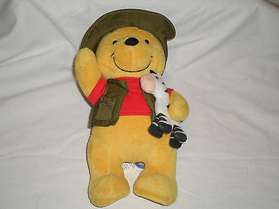 Disney Store Winnie the Pooh Plush with Safari Hat Vest and Zebra 10""