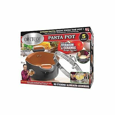 Gotham Steel Non-Stick Pasta Pot with Glass Lid and Built in Strainer - 5 Quart