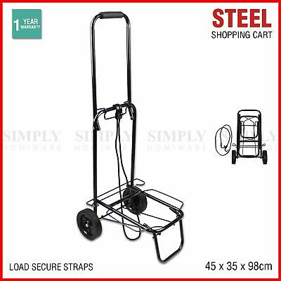 Shopping Cart Steel Trolley Carts Bag Foldable Luggage Wheels Folding Basket
