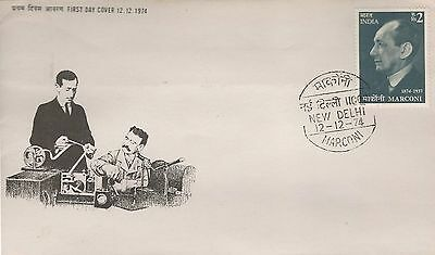 India Fdc 1974 Marconi Radio Inventor And Of Wireless Telegraphy