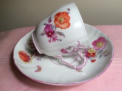 Antique German KPM Hand Painted PorcelainTea Cup & Saucer Marked Floral Design