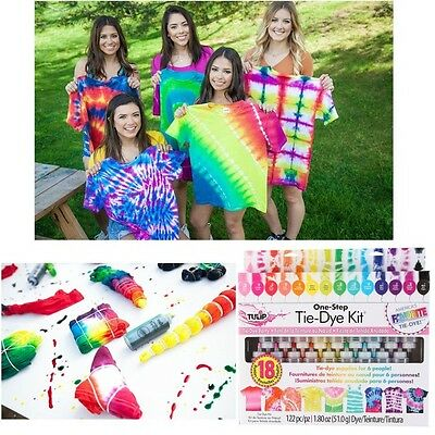 18-Color Tye Die Kits Tie Craft Fabric Paints Markers Painting T-Shirt DIY Summe