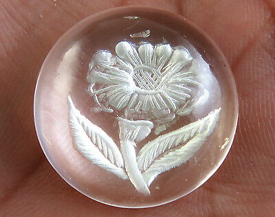 46.7 CTS Crystal Clear Quartz Intaglio Carving Cabochon Carved Flower Design