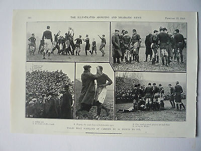"Rugby. "" Wales Beat Scotland At Cardiff  14 Points To Nil "" 1910. Very Rare."