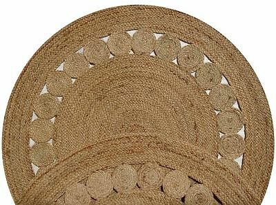 BEIGE FLOWER BRAIDED NATURAL JUTE ROUND FLOOR RUG 140x140cm **NEW**