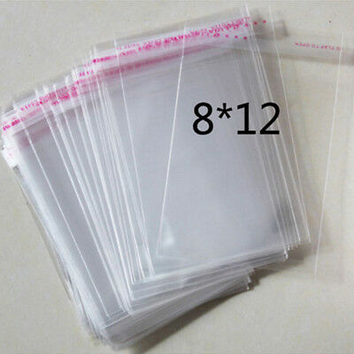 100 Pcs Lots Wholesale Self Adhesive Clear Plastic Bag 8x12cm Jewelry Package