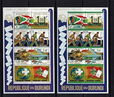 Burundi: 1974 Centenary of UPU, 2 miniature sheets, high catalogue value, MNH