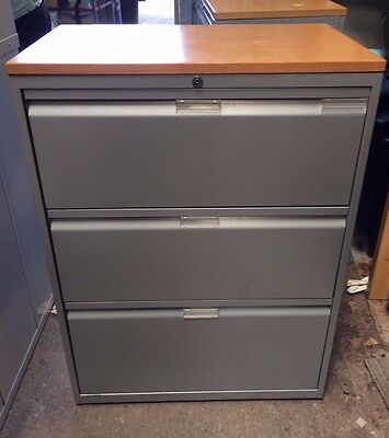 3 Drawer Metal Lateral Filing Cabinet With Wood Top With Key - 9 Available