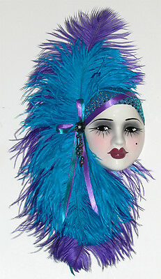 """""""Brand New"""" - Unique Creations Lady Face Mask Wall Hanging Decor - Purple / Teal"""