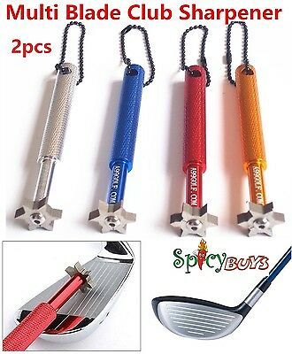 2x Spicybuys Golf Multi Blade Club Sharpener Wedge Iron Regrooving Tool cleaner
