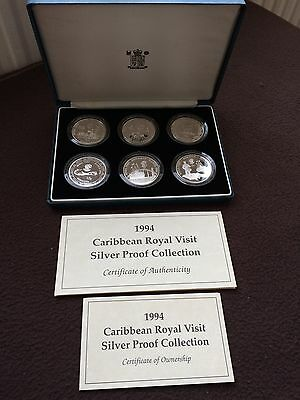 1994 6 x SILVER PROOF CARIBBEAN ROYAL VISIT COLLECTION - boxed/coa