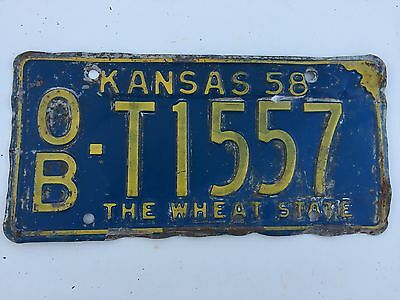"1958 Kansas ""The Wheat state"" License Plate OB-T1557"