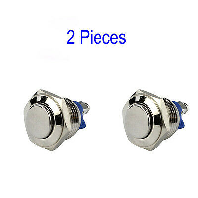 1 pair 16mm Waterproof Momentary Action Metal Push Button Switch for Car Dash