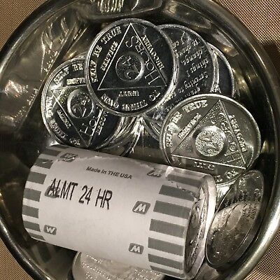AA Newcomers 1 Roll of 25 Tokens 24 Hr Aluminum  Tokens / Medallions / Chips