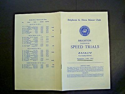 Brighton motor club speed trials 15th Sept.1962 results and time trials sheets.