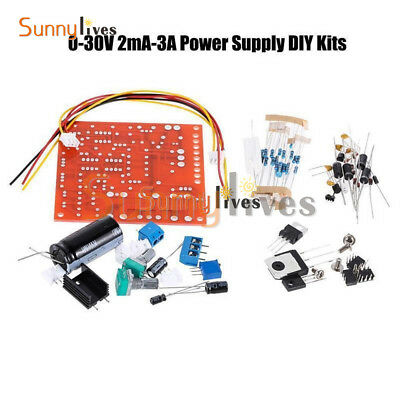 DC 0-30V 2mA-3A Adjustable Regulated Power Supply DIY Kit Short Protection PCB