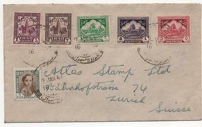 Iraq Postal history envelope dated 1946 with six stamps Baghdad to Zurich
