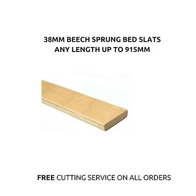 Individual Curved Replacement Beech Sprung Wooden Bed Slats 38mm x 8mm x 915mm