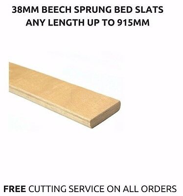 38mm Wide Replacement Curved Bent Wooden Beech Sprung Bed Slats / Slates Spares