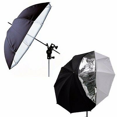 33''Double Layers White Black Reflective Translucent Photography Studio Umbrella