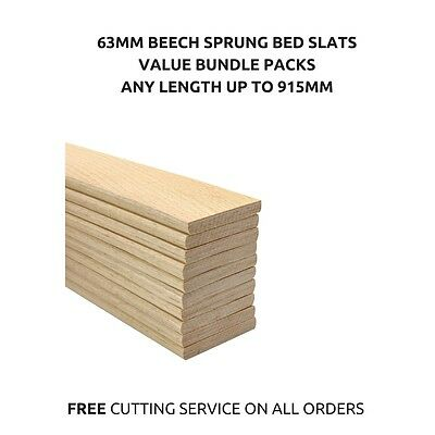63mm Wide Replacement Curved Bent Wooden Beech Sprung Bed Slats Slates 10 Pack