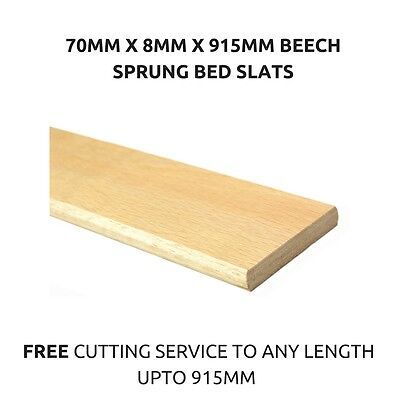 70mm Wide Replacement Curved Bent Wooden Beech Sprung Bed Slats / Slates Spares