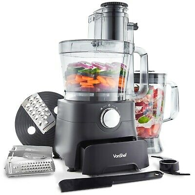 VonShef 1000W Food Processor Blender Chopper Mixer Smoothie Maker Dough Blade
