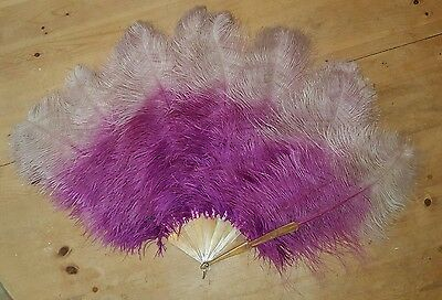Gorgeous Antique Large Ostrich Feather Fan Burlesque Moulin Rouge