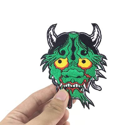 Cool Green Japanese Demon Devil Tattoo Applique Embroidered Iron On Sew Patch