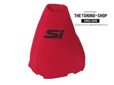 """For Honda Civic Sedan Coupe Si FA FD 06-11 Shift Boot Red Suede """"Si"""" Embroidery"""