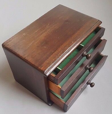 Vintage Antique 3 dr Collectors Cabinet Engineers Specimen Tool Small Mahogany